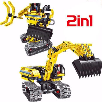 Конструктор 2 в 1 экскаватор и робот QiHui Technics QH6801 342 детали