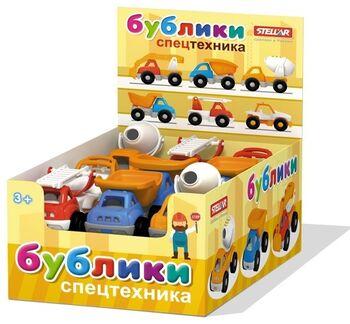Машинка Бублик Спецтехника в шоу-боксе в упаковке 7 шоубоксов по 18шт