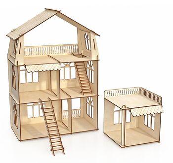 Конструктор-кукольный домик ХэппиДом Коттедж с пристройкой Premium