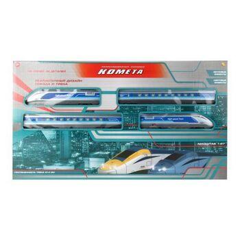 Железная дорога Abtoys КОМЕТА Железнодорожный экспресс 214см (голубой поезд), со световыми и звуковыми эффектами