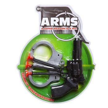 Пистолет Револьвер с тремя стрелами на присосках и наручники