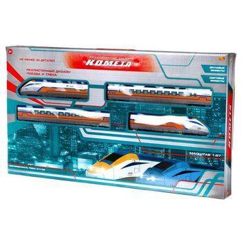 Железная дорога Abtoys КОМЕТА Железнодорожный экспресс 214см (желтый поезд), со световыми и звуковыми эффектами