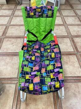 Санки Дэми складные со съемным задним толкателем и чехлом для ног, желтый-зеленый цветной