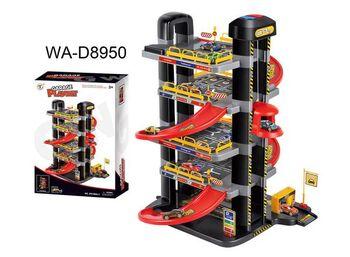 Парковка 5-ти уровневая с автоматическим подъемником, в наборе с машинками и аксессуарами, не менее 49 элементов, в коробке