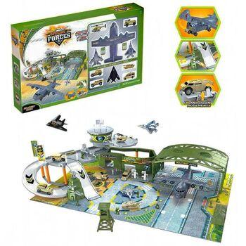 Набор игровой Junfa Военный аэродром (собери сам) (паркинг, самолеты, военная техника, акссесуары), в коробке