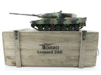 Радиоуправляемый танк Taigen 1/16 Leopard 2 A6 (Германия) САМО 2.4G RTR, деревянная коробка