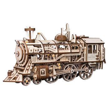 Деревянный 3D конструктор с приводом Robotime Locomotive - LK701