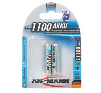 Аккумуляторная батарейка ANSMANN AAA 1100 mAh BP-2 (1шт)