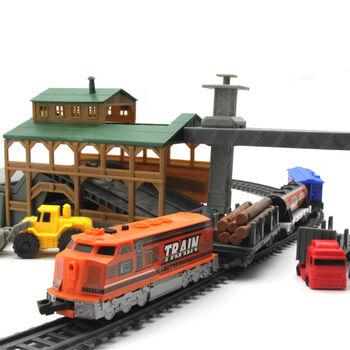 Железная дорога со станцией загрузки леса, длина полотна 450 см - BSQ-2083