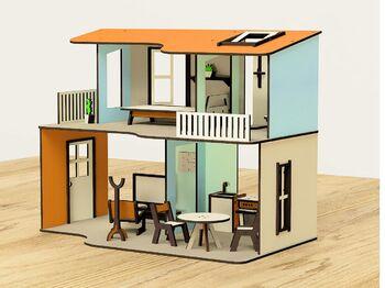 Кукольный домик M-WOOD Двухэтажный открытый с мебелью