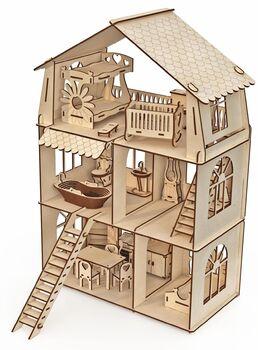 Конструктор-кукольный домик ХэппиДом Коттедж с мебелью Premium
