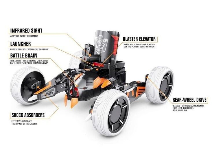 Р/У боевая машина Universe Chariot, лазер, диски, оранжевая, Ni-Mh и З/У, 2.4G