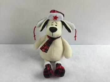 Мягкая игрушка Собака в ушанке с шарфом, 24см