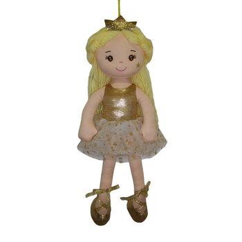 Кукла мягконабивная Принцесса в золотом платье и короной, 38 см
