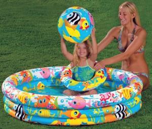 Бассейн надувной детский Fishbowl Pool 132х28 см.(от 3х лет)